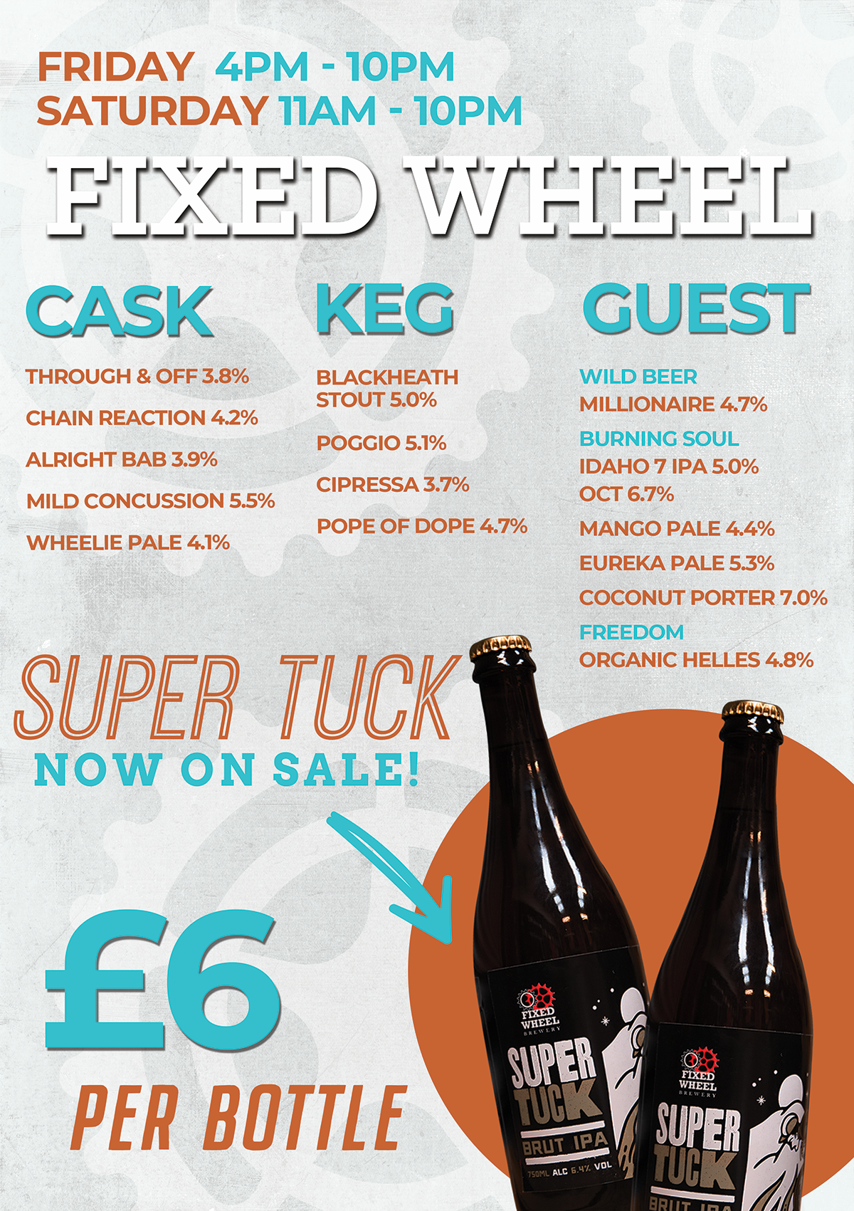 Beer list  for the bank holiday