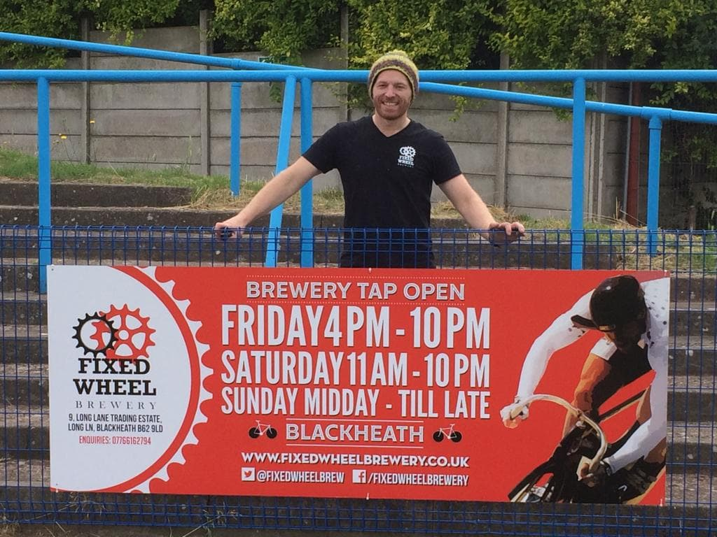 Fixed Wheel Scott with banner at Halesowen Town F.C.